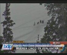 EEUU: cinco jóvenes murieron al ser alcanzados por avalancha