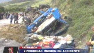 Cajamarca: camión con ganado se despista y deja dos muertos