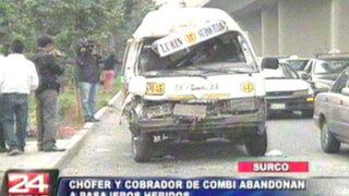 Surco: conductor estrella combi y abandona a pasajeros heridos