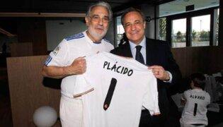 Plácido Domingo visitó a los jugadores del Real Madrid