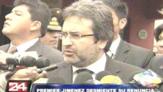 Premier Jiménez descarta nuevas renuncias en el Gabinete Ministerial