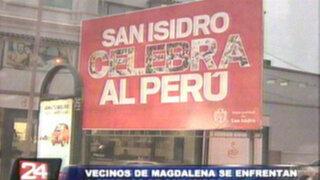 Serenos de Magdalena y San Isidro se enfrentan con piedras por límites distritales