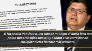 Alan García desmiente transferencia de inmueble a su hijo Federico Dantón