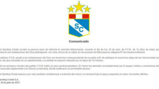 Sporting Cristal emitió comunicado sobre muerte de joven en La Florida