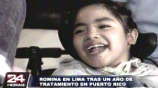 Pequeña Romina regresa a Lima tras un año de tratamiento en Puerto Rico