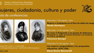 """Conferencias """"Mujeres, ciudadanía y poder"""" en el Centro Cultural Inca Garcilaso"""