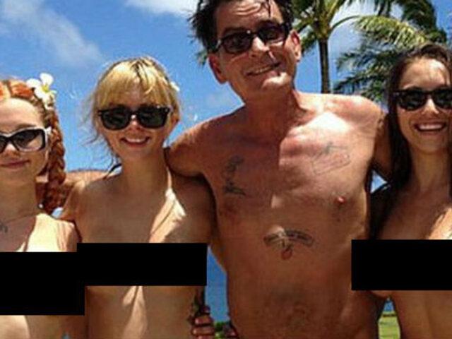 Charlie Sheen disfruta de Hawái junto a tres actrices porno
