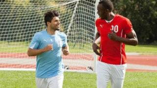 VIDEO: Usain Bolt entrena al futbolista 'Kun' Agüero para mejorar su velocidad
