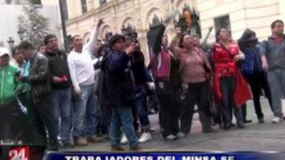 VIDEO: trabajadores del Minsa protagonizan enfrentamiento en el Centro de Lima
