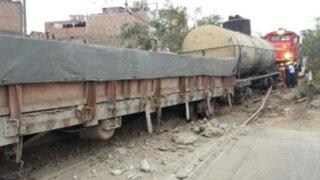 Cercado: Pánico por descarrilamiento de locomotora del Ferrocarril Central