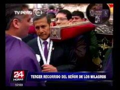 Presidente Ollanta Humala cargó andas del 'Señor de los Milagros'