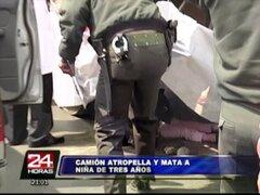 Camión arrolló y mató a pequeña de un año en El Agustino