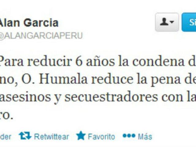 García: Humala beneficia asesinos para reducir condena a su hermano