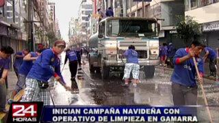 Emporio comercial de Gamarra inició campaña navideña con operativo limpieza