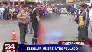 Escolar de 7 años muere tras ser atropellado por dos autos en Independencia