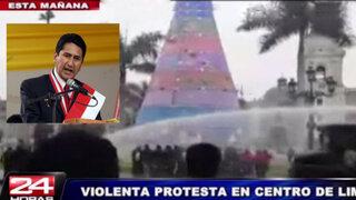Presidente regional de Junín encabezó protesta en Plaza Mayor de Lima