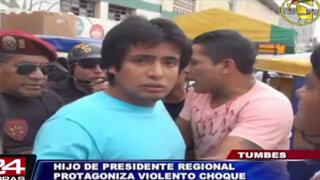 Hijo de presidente regional de Tumbes chocó auto en estado de ebriedad