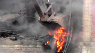 La Victoria: demuelen edificio incendiado en la Avenida Nicolás Arriola