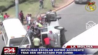 Movilidad escolar que trasladaba a tres niños se volcó en La Molina