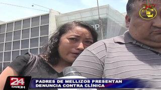 Padres de mellizos fallecidos denunciaron a clínica San Pablo ante Indecopi