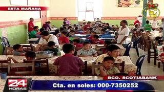 Niños del Puericultorio Pérez Araníbar adelantan la Navidad con chocolatada