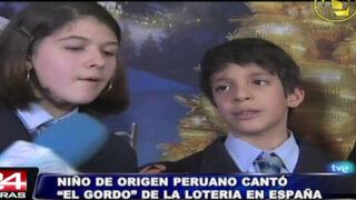 El niño de origen peruano que cantó el premio 'gordo' en España