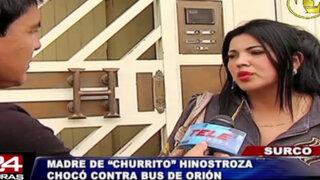 Surco: mamá del 'Churrito' Hinostroza chocó su auto contra cúster de Orión