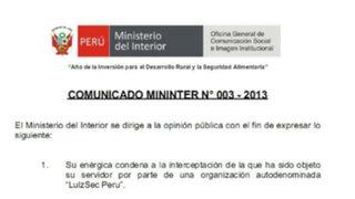 Ministerio del Interior denunciará a hackers que intervinieron su web