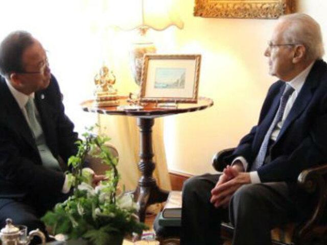 Ban Ki-Moon se reunió con Javier Pérez de Cuéllar en San Isidro