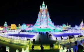 Artistas crean impresionante ciudad del hielo de China