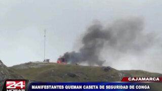 Cajamarca: manifestantes quemaron caseta de seguridad de Conga