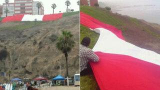 Fallo de La Haya: bandera peruana gigante cubre malecón de Barranco