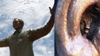 Sudáfrica: sacarán un conejo de la oreja de estatua gigante de Mandela