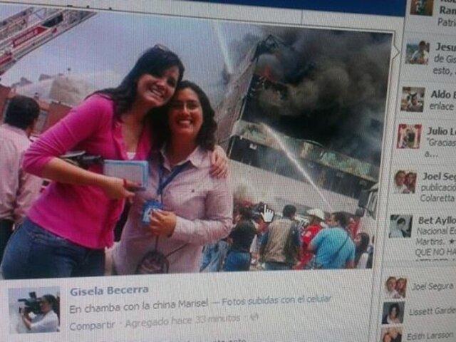 Periodistas generan polémica tras tomarse fotografías en pleno incendio