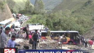 Continúa bloqueada la vía de Cusco a Quillabamba por caída de huayco