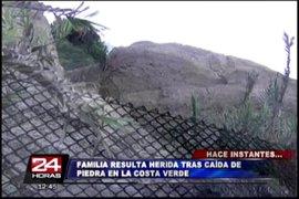 Familia resulta herida tras nuevo deslizamiento de rocas en la Costa Verde