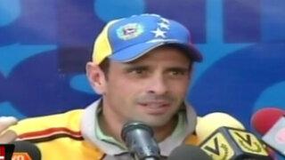 Capriles afirma que gobierno venezolano alistaría un autogolpe