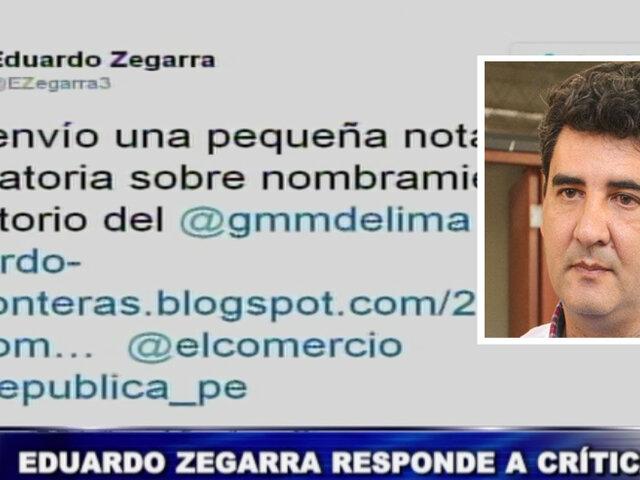Regidor revocado Eduardo Zegarra responde a críticas por su contratación