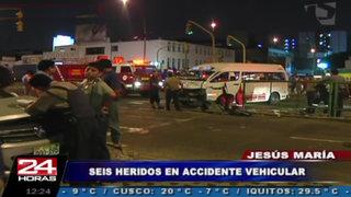 Aparatoso accidente en Jesús María dejó seis personas heridas