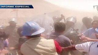 Imágenes del feroz enfrentamiento entre policías y mineros ilegales en Arequipa