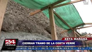 Cierran tramo de la Costa Verde para colocación de geomallas