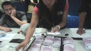 Capturan a ciudadano chino que llevaba más de un millón de soles en maletas