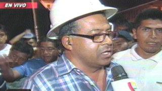 Mineros dormirán en plaza 2 de mayo luego de jornada de violencia