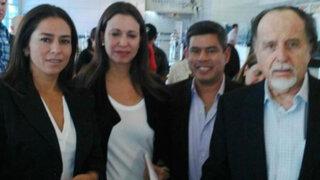 María Corina Machado regresó a Venezuela con tres congresistas peruanos