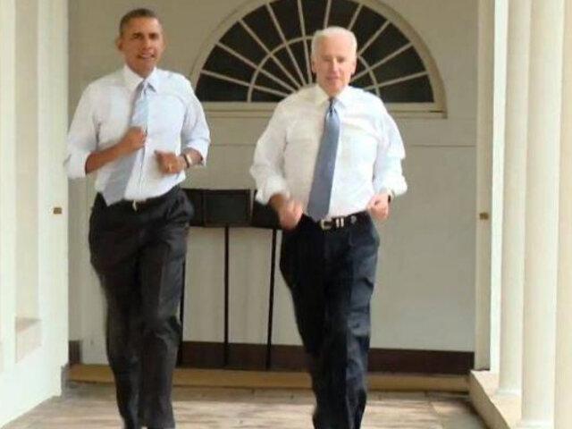 Obama y Biden corrieron por toda la Casa Blanca para fomentar el deporte