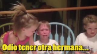VIDEO: niño se entera que tendrá otra hermana y rompe en llanto