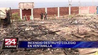 Aseguran que incendio en colegio de Ventanilla fue provocado