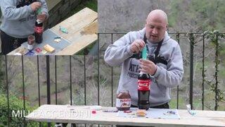 VIDEO: ¿Qué pasa cuando mezclamos Coca Cola, cacao, mentas y un condón?