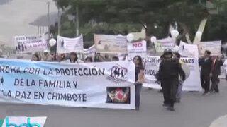 Chimbote: comunidad de Iglesia Evangélica protestó contra la Unión Civil