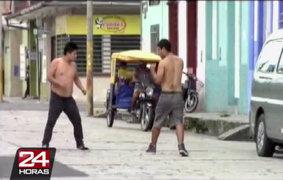 Iquitos: dos presuntos delincuentes convirtieron calles en ring de box
